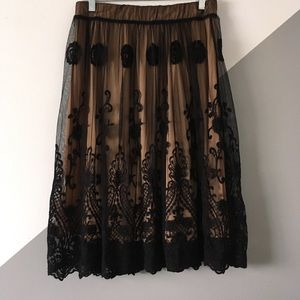 Lapis L Skirt Full Lace Tulle Overlay Pull On